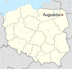 Augustów położny jest w północno-wschodniej części Polski.