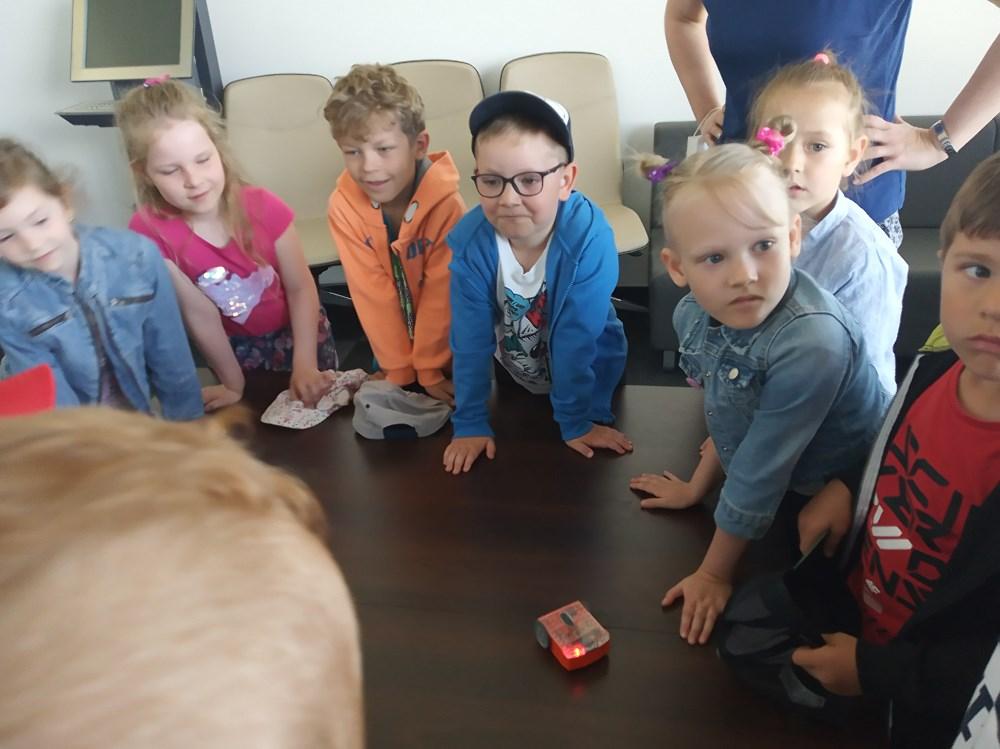 Dzieci obserwują działanie robota.