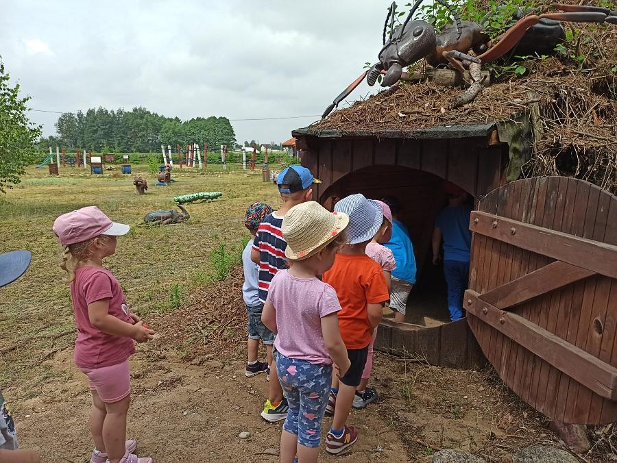 Dzieci stoją w kolejce przed wejściem do rekonstrukcji mrowiska.
